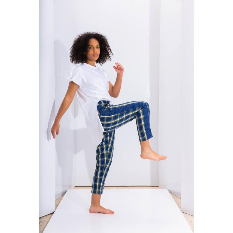 Classic Check Pants In Blue