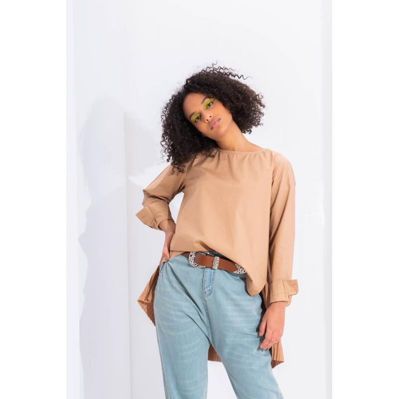 Pleated Back Top In Camel
