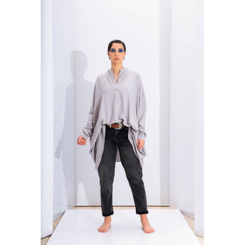 Oversize Closed Shirt In Grey