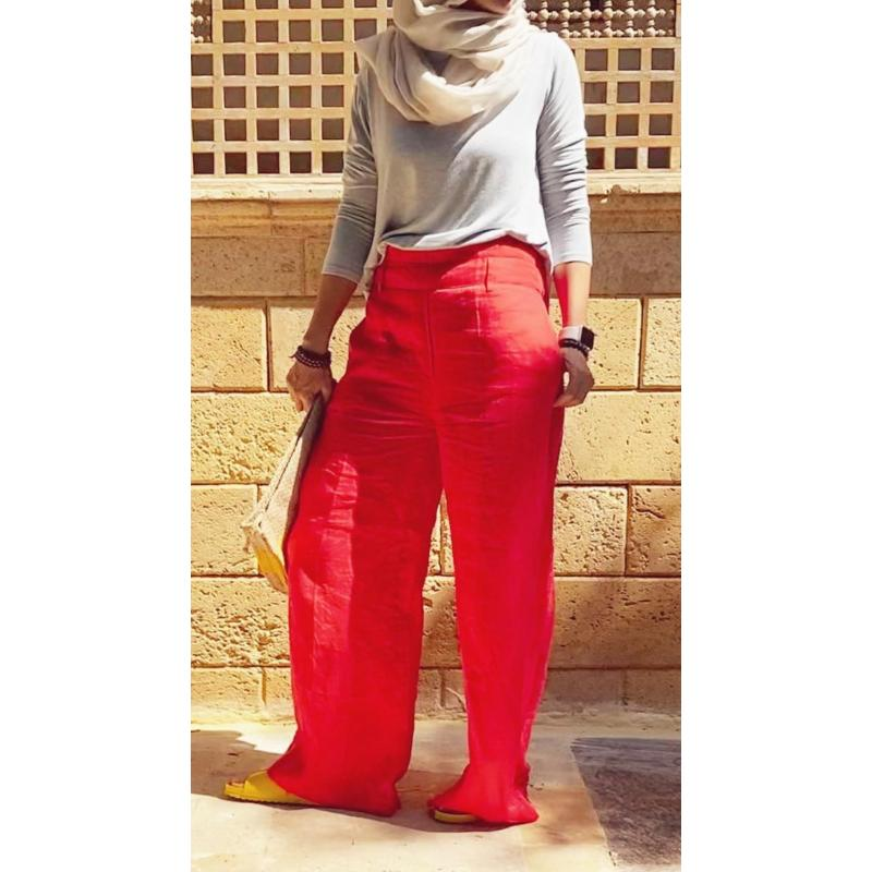 Flared Linen Red
